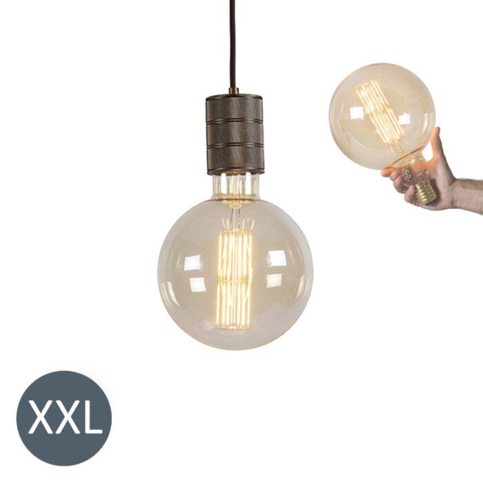 Rippuv-lamp-pronksist-Megaglobe-koos-hämardatava-LED-lambiga