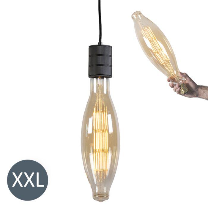 Rippvalgusti-Elips-must,-reguleeritava-LED-lambiga