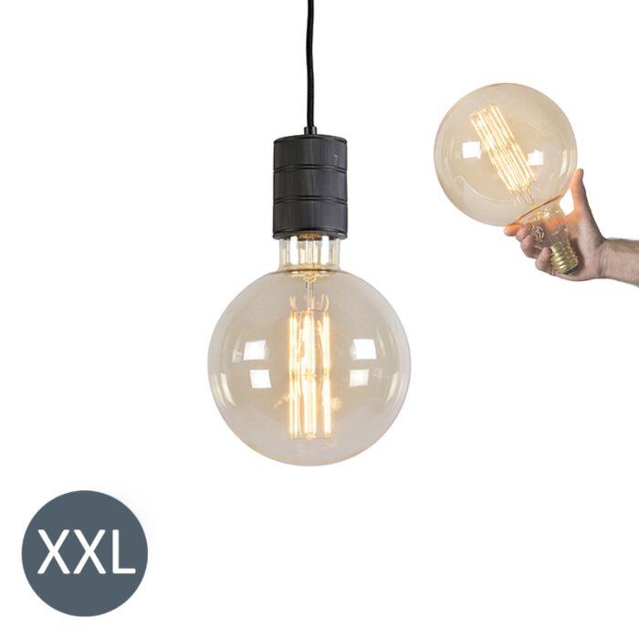 Rippvalgusti-Megaglobe-must-koos-reguleeritava-LED-lambiga