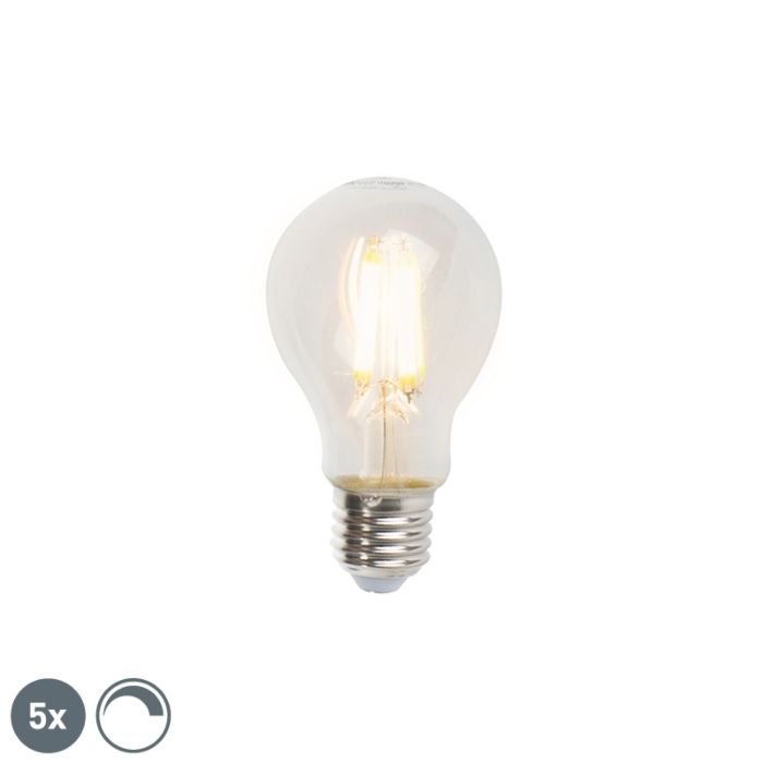 5-E27-hämardatavat-LED-hõõglampi-komplekt-A60-7W-806lm-2700K