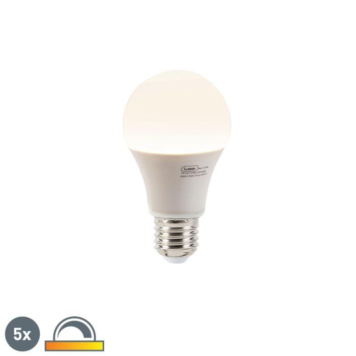 5-LED-lampi-komplekt-A60-E27-7W-2000-2700K-hämardumas