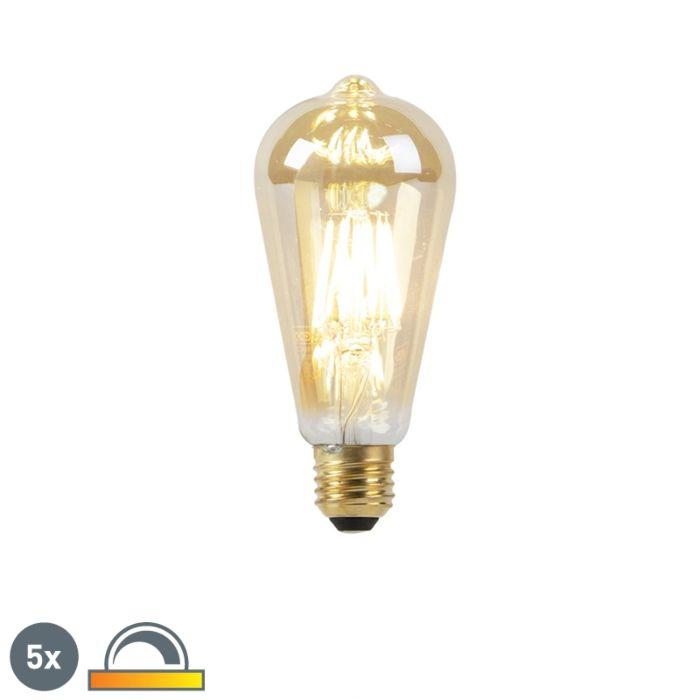 5-E27-LED-lampi-komplekt-8W-2000-2600K-hämaras-kuldjoone-hõõgniidiga