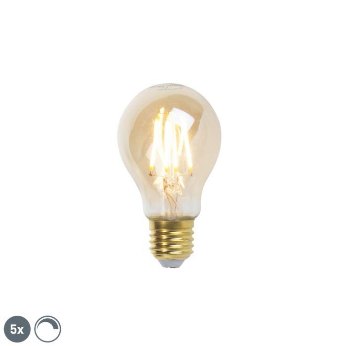 5-E27-hämardatavat-LED-hõõglampi-komplekt-goldline-360lm-2200K