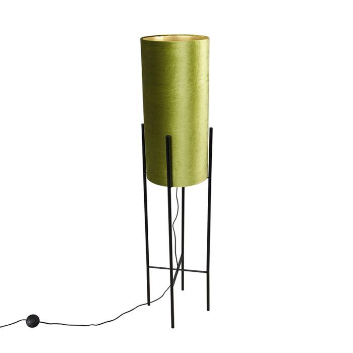 Disainpõrandalamp-must-samet-tooni-roheline-kullaga---rikkalik