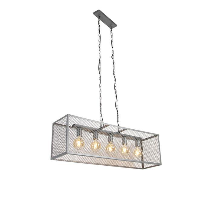 Tööstuslik-rippvalgusti-antiikhõbe-5-valgusti---Cage-Robusto