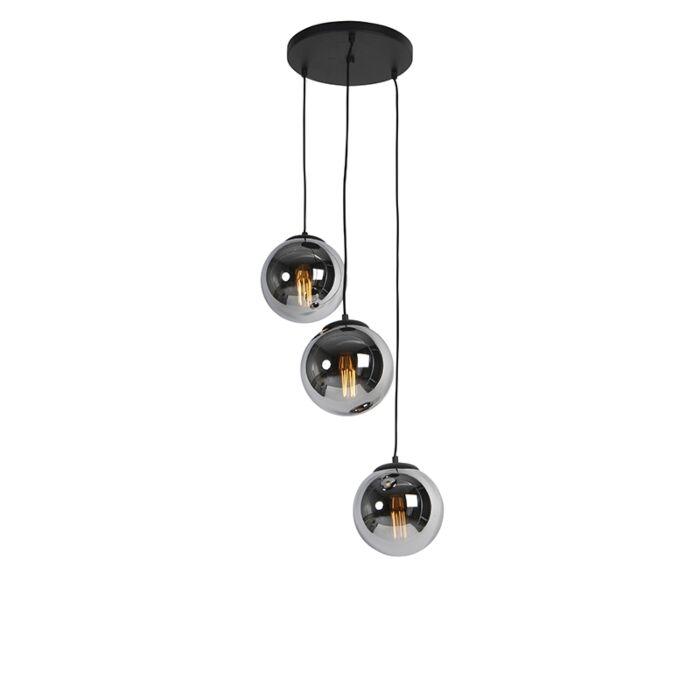 Art-Deco-rippvalgusti-must-suitsuklaasiga-3-valgusti---Pallon